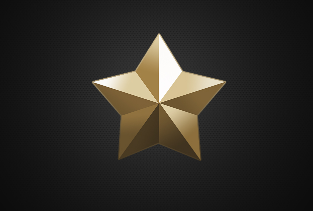 Create a realistic 3d golden star in photoshop for Make a 3d star